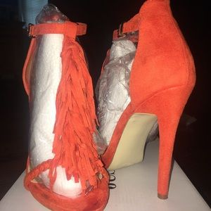 Fun Orange Tassel Open-Toed Heels
